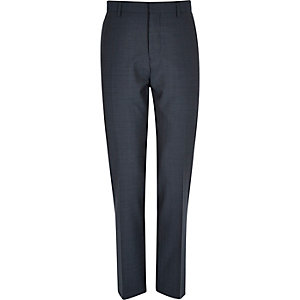 Blue premium wool slim suit trousers
