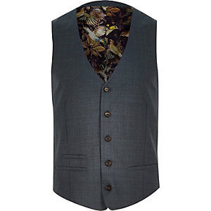 Blue premium wool slim suit waistcoat