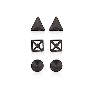 Black geo print earrings pack
