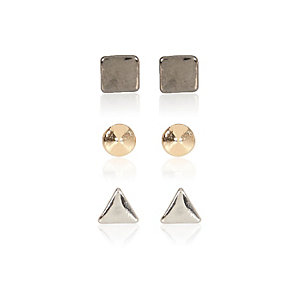 Grey geo earrings pack