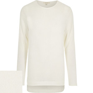 White zip side stepped hem sweater