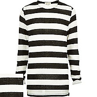 Black stripe zip side stepped hem jumper