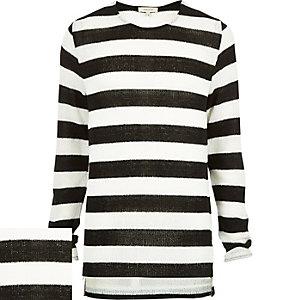 Black stripe zip side stepped hem sweater