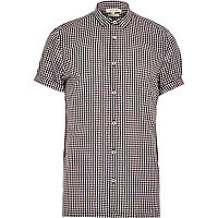 Purple gingham short sleeve shirt