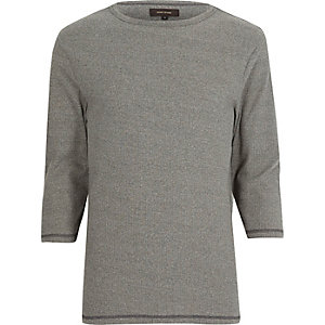 Grey ribbed 3/4 sleeve t-shirt