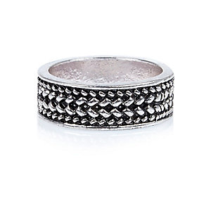 Silver tone textured ring