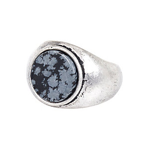 Silver tone large stone ring