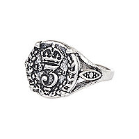 Silver tone coin ring