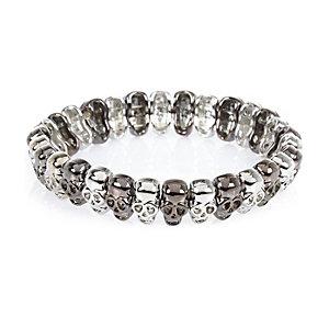 Silver tone skull bracelet
