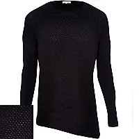 Black textured asymmetric hem jumper