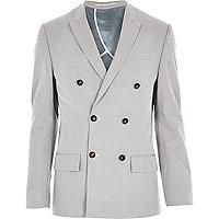 Grey smart double breasted slim blazer