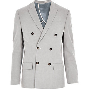 Grey smart double breasted slim blazer