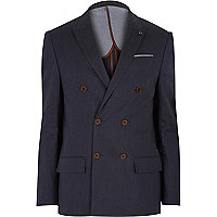 Navy linen-blend double breasted blazer