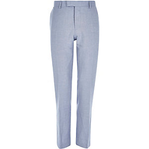 Blue linen-blend slim suit trousers