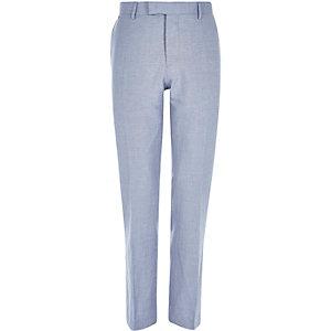 Blue linen-blend slim suit trousers