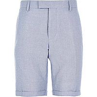 Blue linen-blend smart shorts