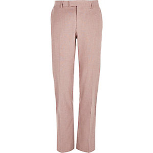 Red linen-blend slim smart pants