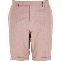 Red linen-blend smart shorts