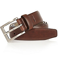 Brown square buckle belt