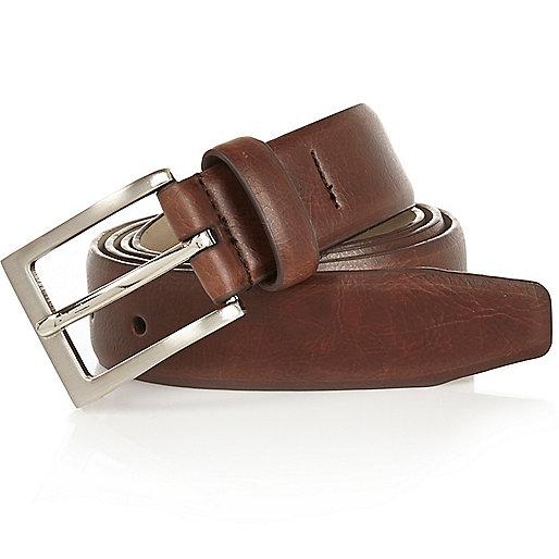 Brown square buckle belt
