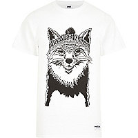 White RAREGOODS.CO fox print t-shirt