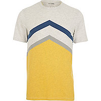 Yellow HYMN chevron stripe t-shirt