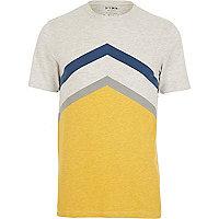 Yellow HYMN chevron stripe t-shirt