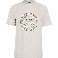 Light grey HYMN fisherman logo t-shirt