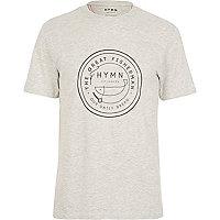Light grey HYMN fisherman logo t-shirt