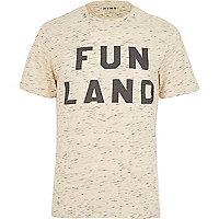 Ecru HYMN fun land slogan t-shirt