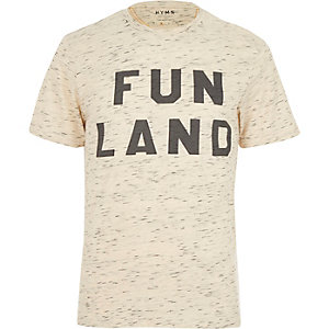 Ecru HYMN fun land slogan t-shirt