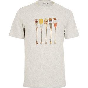 Grey HYMN oar print t-shirt