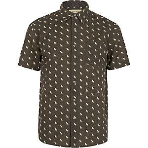 Black HYMN deckchair print short sleeve shirt