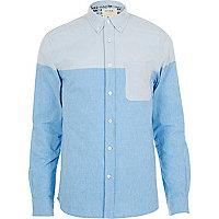 Blue HYMN block colour long sleeve shirt
