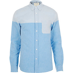 Blue HYMN block colour long sleeve shirt