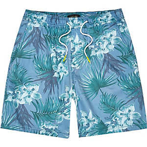 Blue tropical print shorts