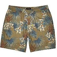 Brown tropical print shorts