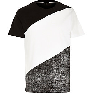 Black white block colour t-shirt