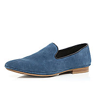 Blue suede leather slip on shoes