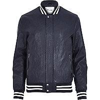 Navy Only & Sons varsity bomber jacket