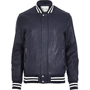 Navy Only & Sons varsity bomber jacket