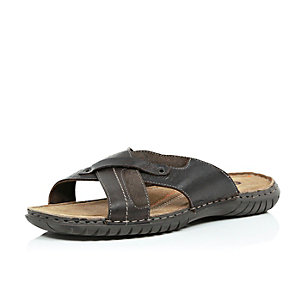 Brown leather chunky cross over sandals