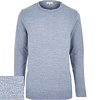 Blue marl crew neck jumper