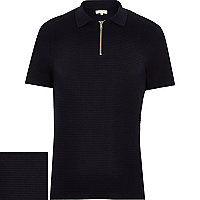 Navy blue knitted polo shirt