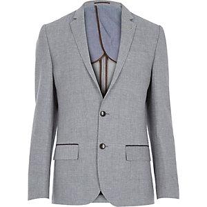 Grey woven linen-blend slim blazer