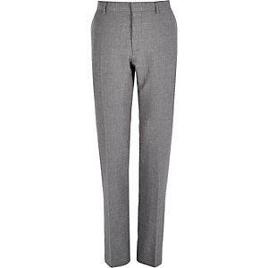 Grey slim textured smart suit trousers