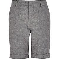 Grey textured linen-blend smart shorts