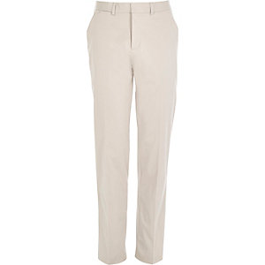 Ecru smart stretch slim fit trousers