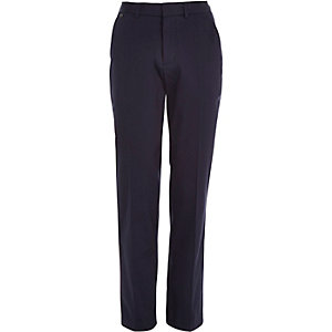 Navy smart stretch slim fit trousers
