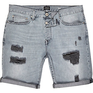 Grey ripped slim denim shorts